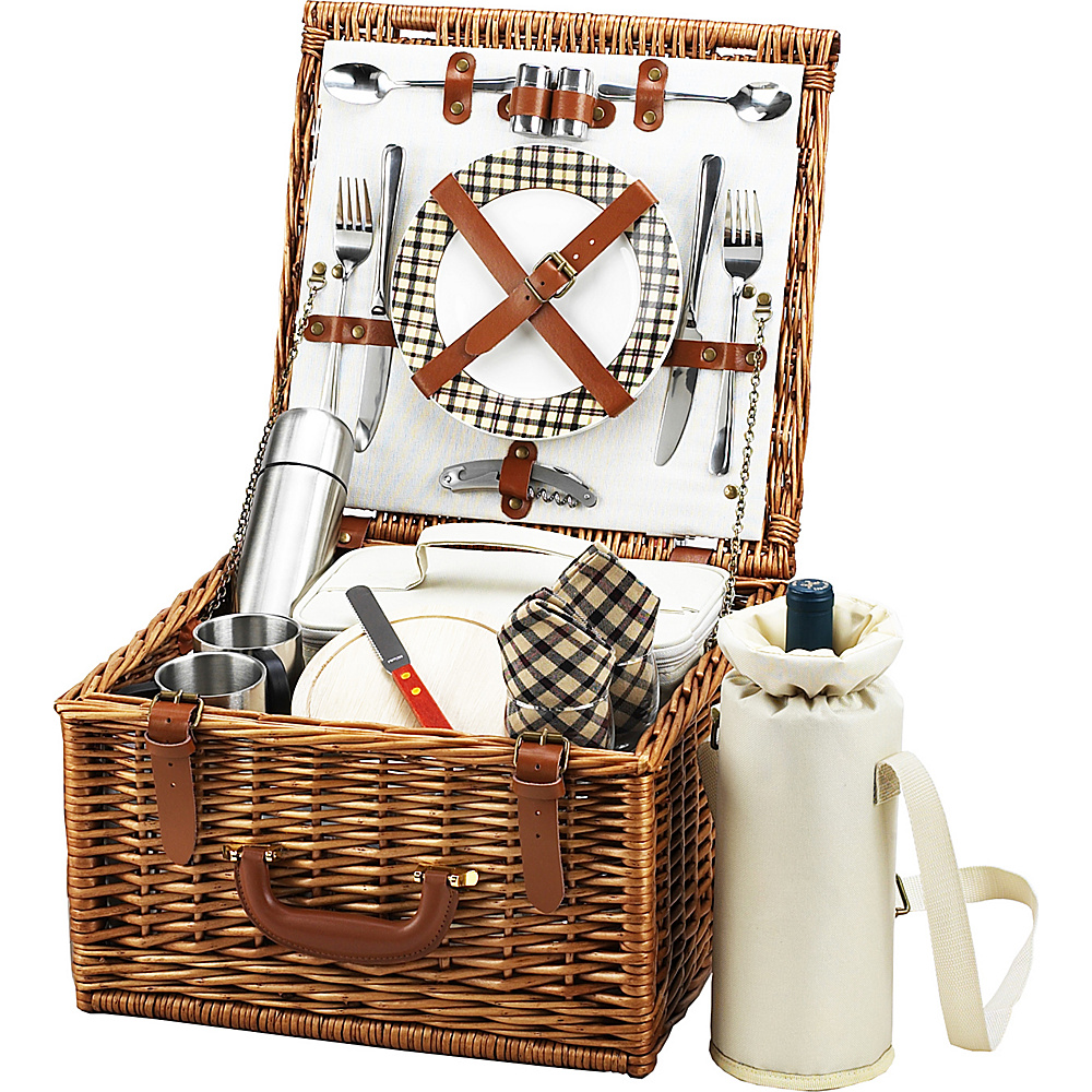 Picnic at Ascot Cheshire English-Style Willow Picnic Basket with Service for 2 and Coffee Set Wicker w/London - Picnic at Ascot Outdoor Accessories - Outdoor, Outdoor Accessories