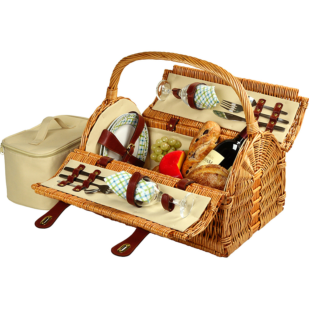 Picnic at Ascot Sussex Willow Picnic Basket with Service for 2 Wicker w/Gazebo - Picnic at Ascot Outdoor Accessories - Outdoor, Outdoor Accessories