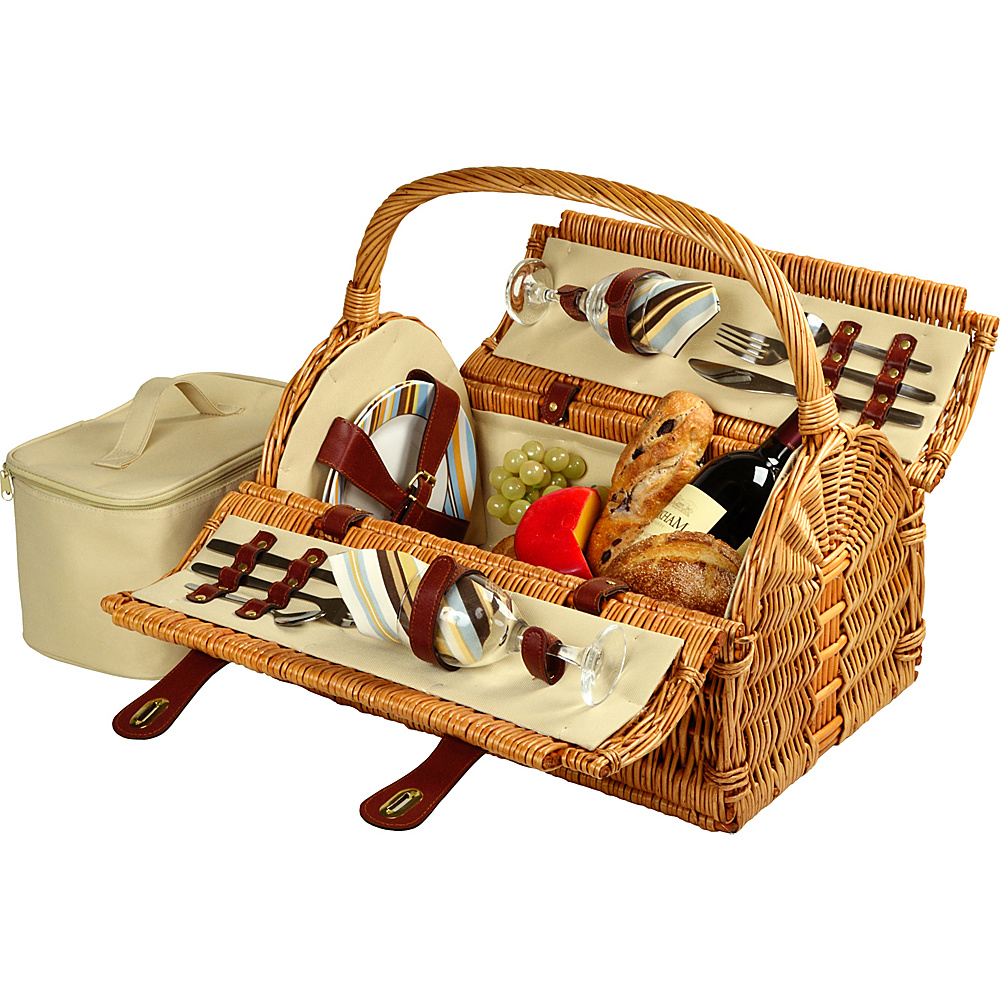 Picnic at Ascot Sussex Willow Picnic Basket with Service for 2 Wicker w/Santa Cruz - Picnic at Ascot Outdoor Accessories - Outdoor, Outdoor Accessories