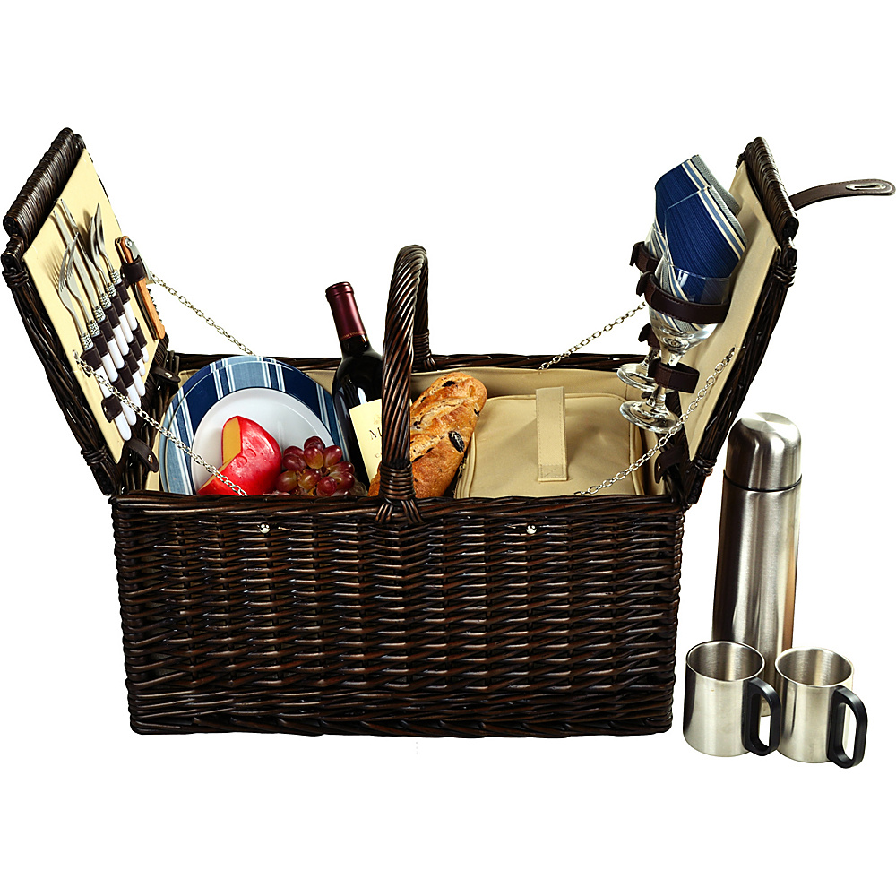 Picnic at Ascot Surrey Willow Picnic Basket with Service for 2 with Coffee Set Brown Wicker/Blue Stripe - Picnic at Ascot Outdoor Accessories - Outdoor, Outdoor Accessories