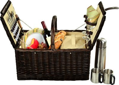 Picnic at Ascot Surrey Willow Picnic Basket with Service for 2 with Coffee Set Brown Wicker/Hamptons - Picnic at Ascot Outdoor Accessories