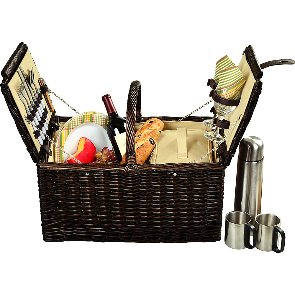 Picnic at Ascot Surrey Willow Picnic Basket with Service for 2 with Coffee Set Brown Wicker/Hamptons - Picnic at Ascot Outdoor Accessories - Outdoor, Outdoor Accessories
