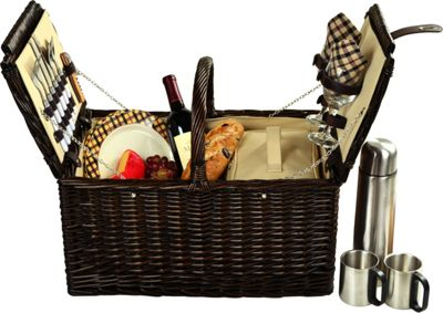 Picnic at Ascot Surrey Willow Picnic Basket with Service for 2 with Coffee Set Brown Wicker/London Plaid - Picnic at Ascot Outdoor Accessories