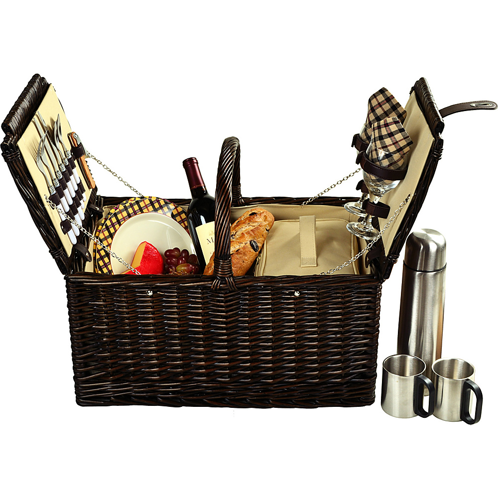 Picnic at Ascot Surrey Willow Picnic Basket with Service for 2 with Coffee Set Brown Wicker/London Plaid - Picnic at Ascot Outdoor Accessories - Outdoor, Outdoor Accessories