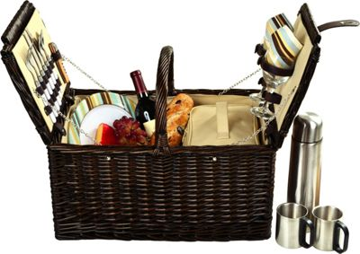 Picnic at Ascot Surrey Willow Picnic Basket with Service for 2 with Coffee Set Brown Wicker/Santa Cruz - Picnic at Ascot Outdoor Accessories