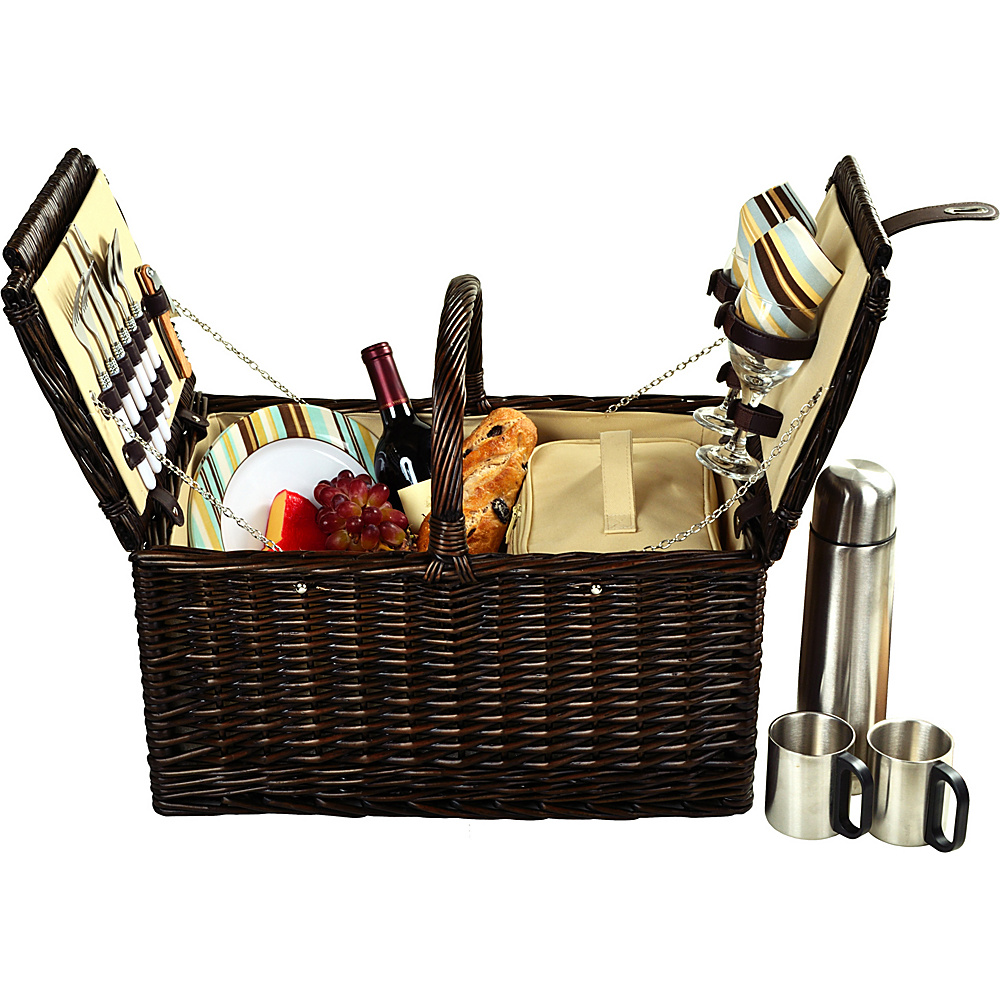 Picnic at Ascot Surrey Willow Picnic Basket with Service for 2 with Coffee Set Brown Wicker/Santa Cruz - Picnic at Ascot Outdoor Accessories - Outdoor, Outdoor Accessories