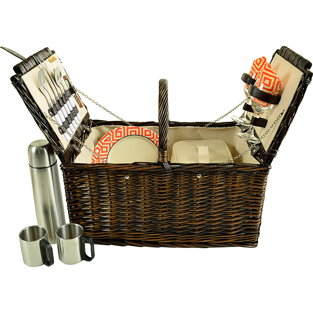 Picnic at Ascot Surrey Willow Picnic Basket with Service for 2 with Coffee Set Brown Wicker/Diamond Orange - Picnic at Ascot Outdoor Accessories - Outdoor, Outdoor Accessories