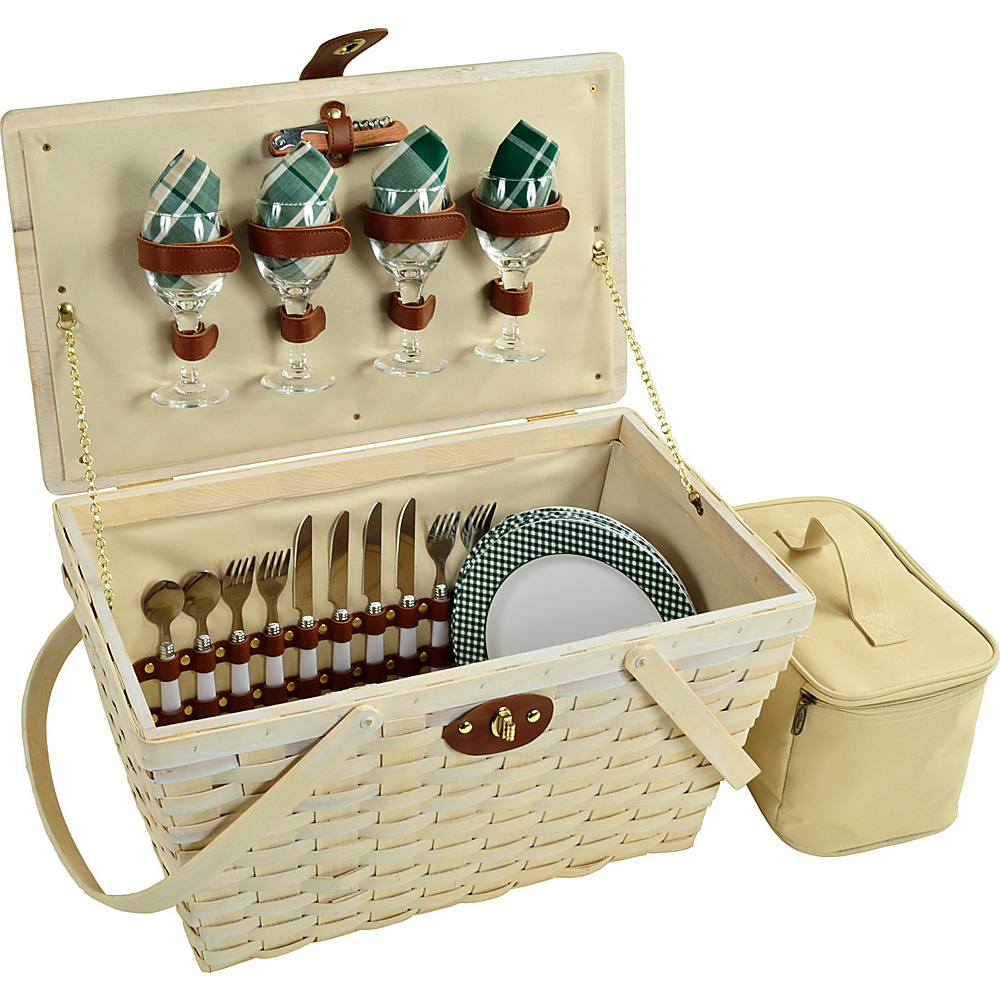 Picnic at Ascot Settler Traditional American Style Picnic Basket with Service for 4 - Whitewash Whitewash/Green - Picnic at Ascot Outdoor Accessories - Outdoor, Outdoor Accessories