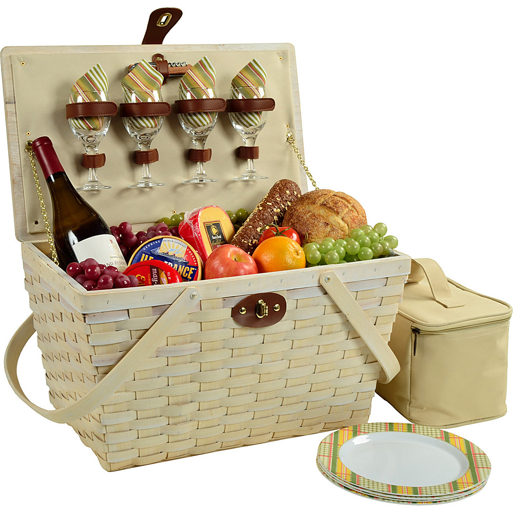 Picnic at Ascot Settler Traditional American Style Picnic Basket with Service for 4 - Whitewash Whitewash/Hamptons - Picnic at Ascot Outdoor Accessories - Outdoor, Outdoor Accessories
