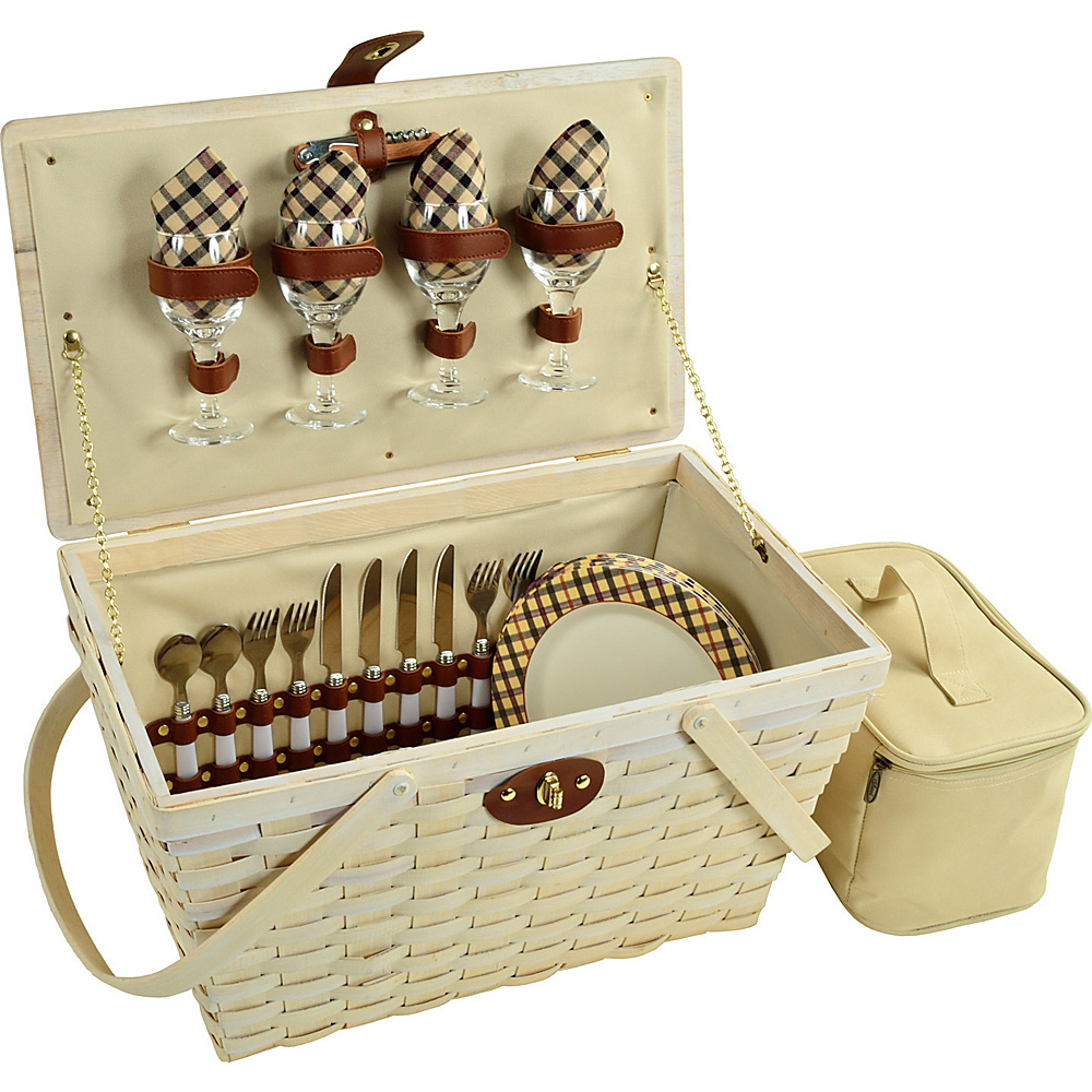 Picnic at Ascot Settler Traditional American Style Picnic Basket with Service for 4 - Whitewash Whitewash/London Plaid - Picnic at Ascot Outdoor Accessories - Outdoor, Outdoor Accessories
