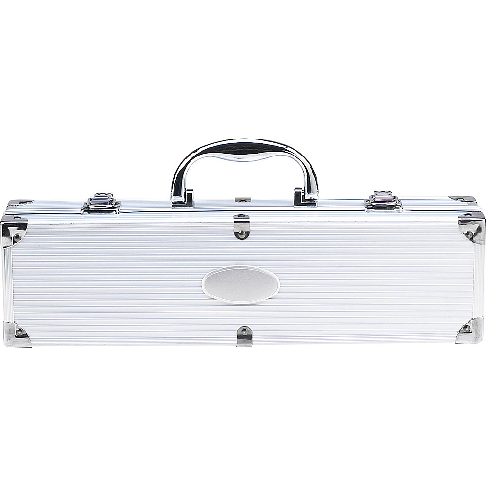 Picnic at Ascot 3 Piece Stainless Steel BBQ Barbecue Grill Tool Set with Aluminum Case Silver - Picnic at Ascot Outdoor Accessories - Outdoor, Outdoor Accessories