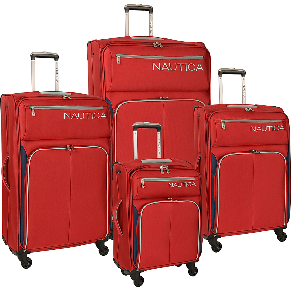 Nautica Ashore 4 Piece Luggage Set Red/Classic Navy/Silver - Nautica Luggage Sets