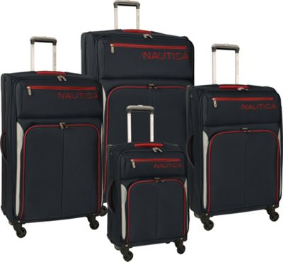 Nautica Ashore 4 Piece Luggage Set Navy/Grey/Red - Nautica Luggage Sets