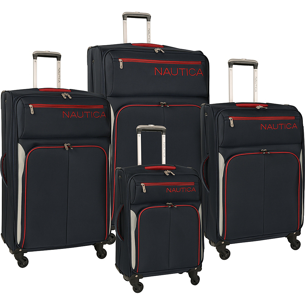 Nautica Ashore 4 Piece Luggage Set Navy/Grey/Red - Nautica Luggage Sets