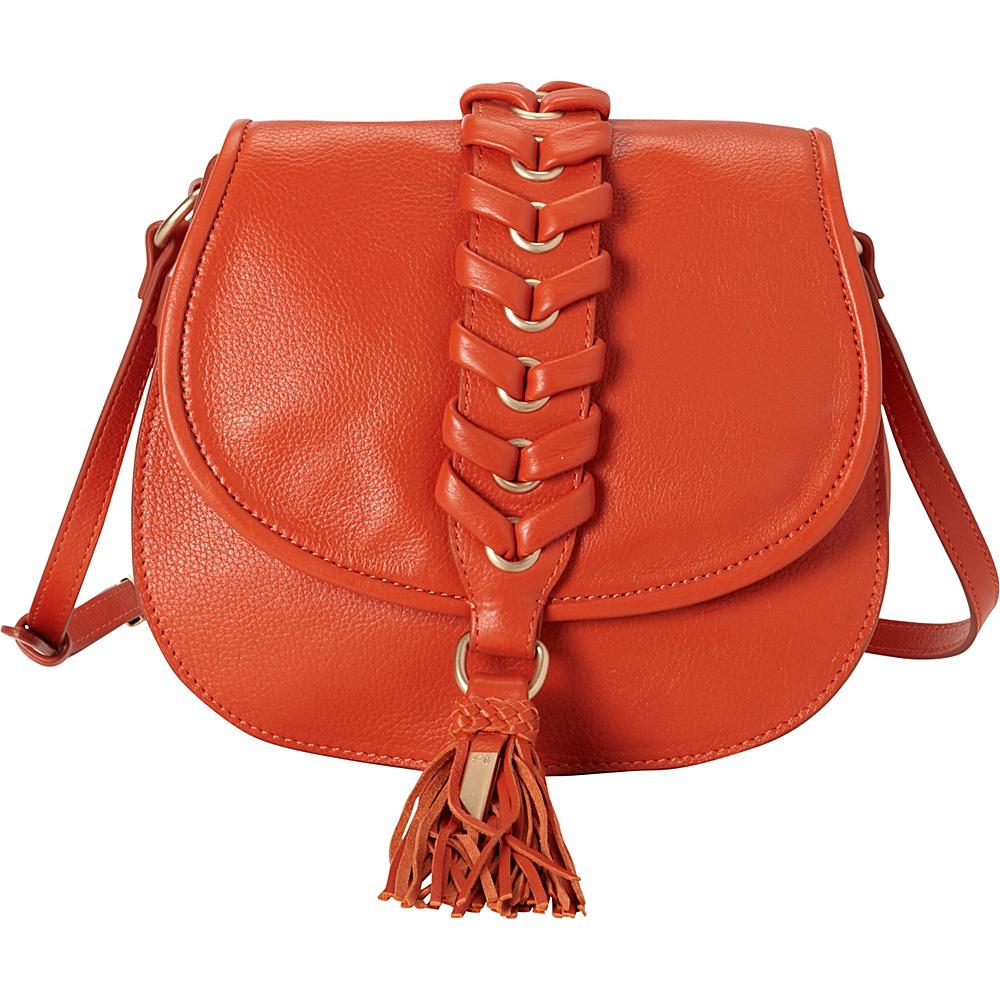 Foley Corinna La Trenza Saddle Bag Papaya Foley Corinna Designer Handbags