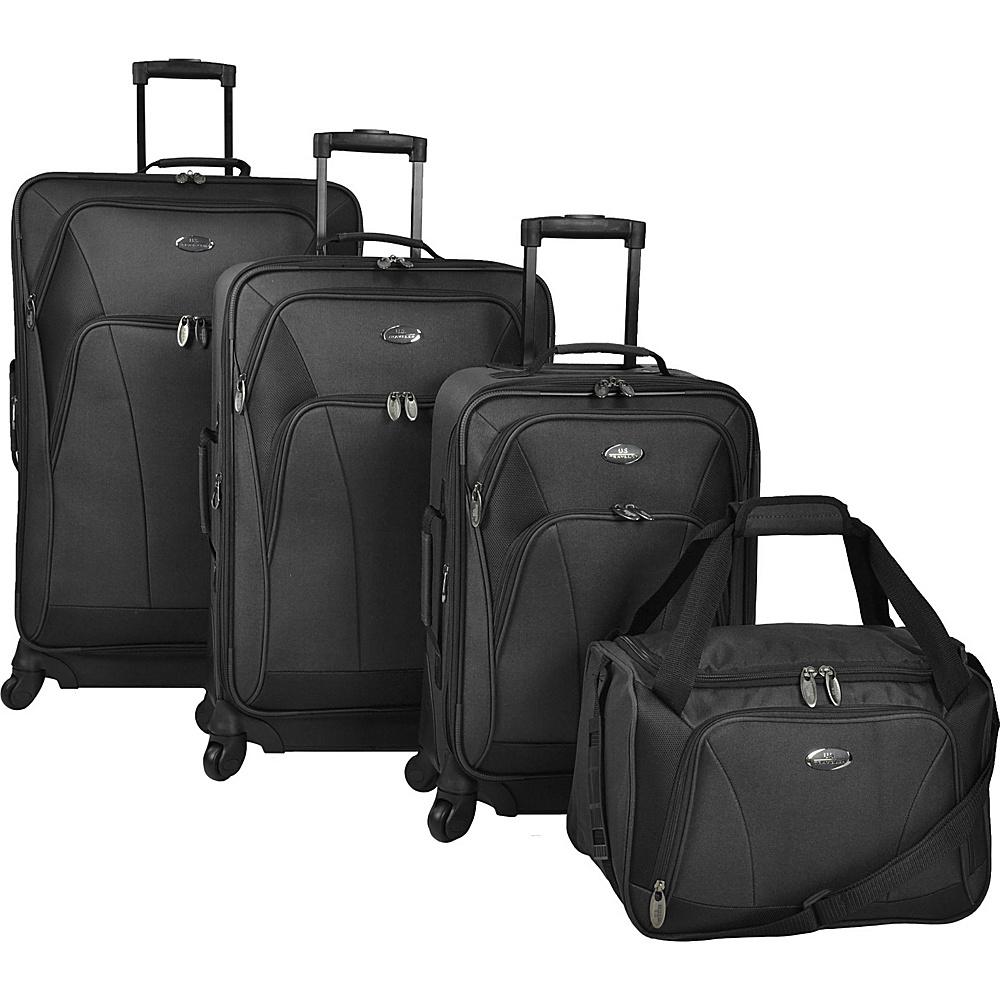U.S. Traveler Saratoga 4 Piece Spinner Set Black U.S. Traveler Luggage Sets
