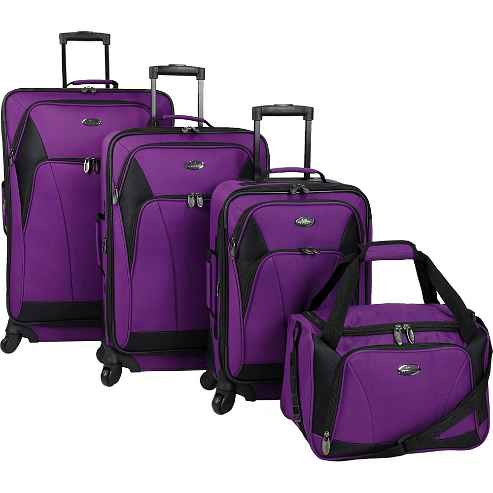 U.S. Traveler Saratoga 4 Piece Spinner Set Purple U.S. Traveler Luggage Sets
