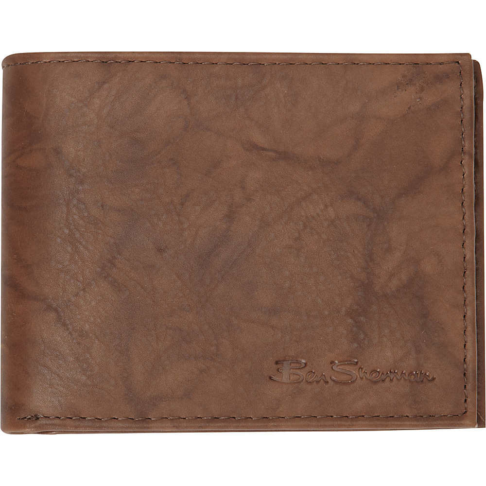 Ben Sherman Luggage Manchester Collection Leather Passcase Bi Fold Wallet Marble Crunch Brown Ben Sherman Luggage Men s Wallets