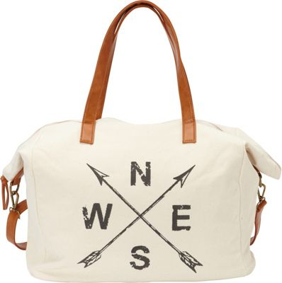 nu G Printed Cotton Weekender Bag Ivory - nu G Fabric Handbags