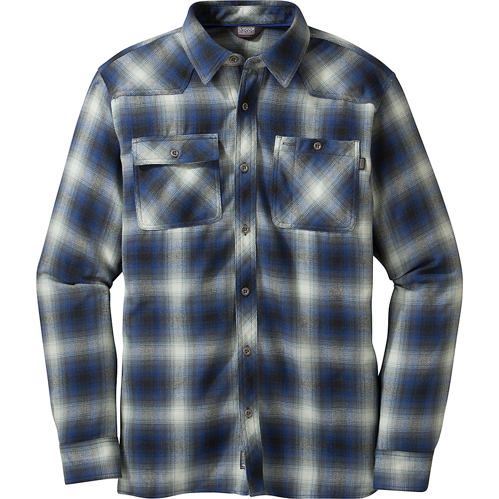 Outdoor Research Feedback Flannel S - Black/Baltic - Outdoor Research Mens Apparel - Apparel & Footwear, Men's Apparel