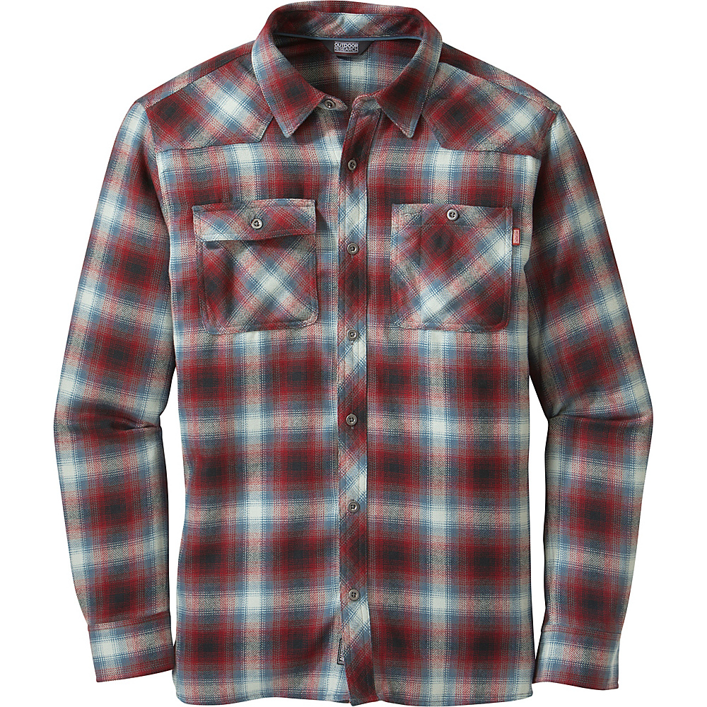 Outdoor Research Feedback Flannel M - Black/Redwood - Outdoor Research Mens Apparel - Apparel & Footwear, Men's Apparel