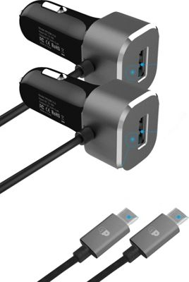 Press Play Products Fixed Cable USB-C Car Charger with Single USB Port 2-Pack Black - Press Play Products Portable Batteries & Chargers