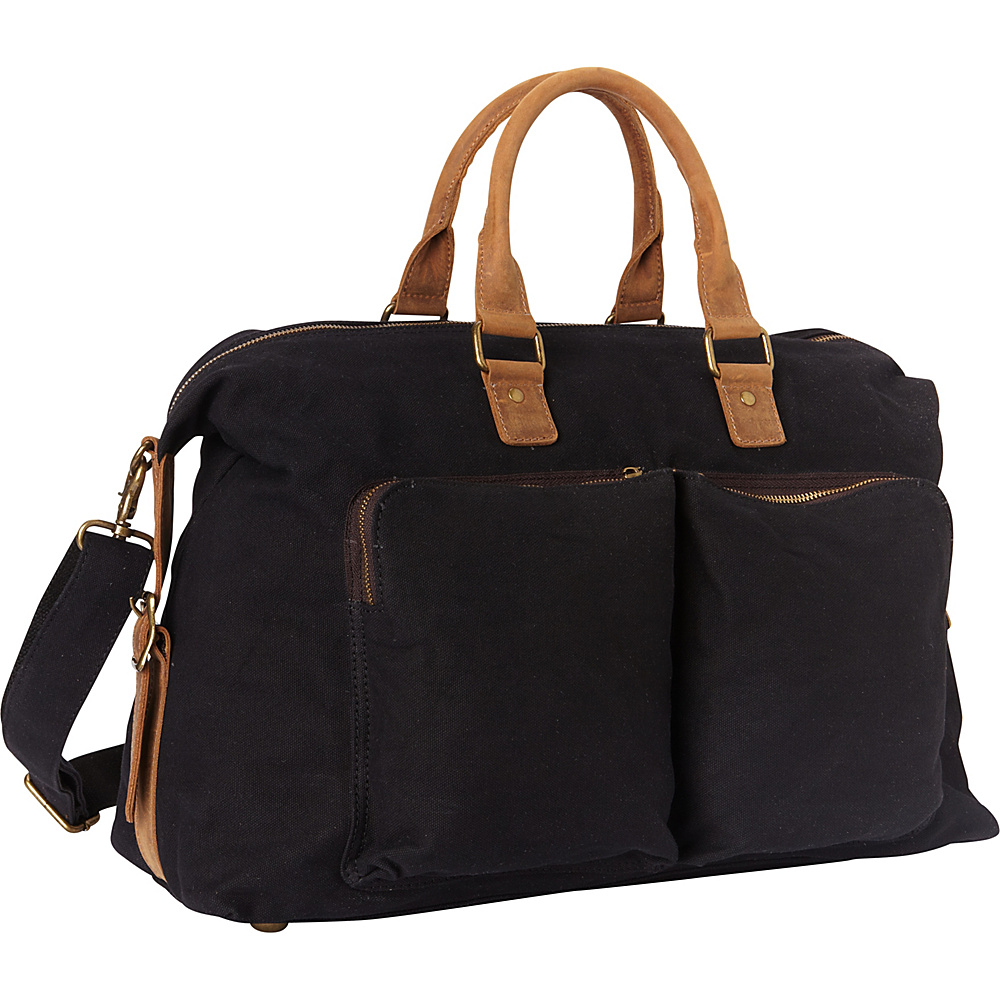 Vagabond Traveler Classic Canvas Over Night Travel Bag Black - Vagabond Traveler Rolling Duffels - Luggage, Rolling Duffels