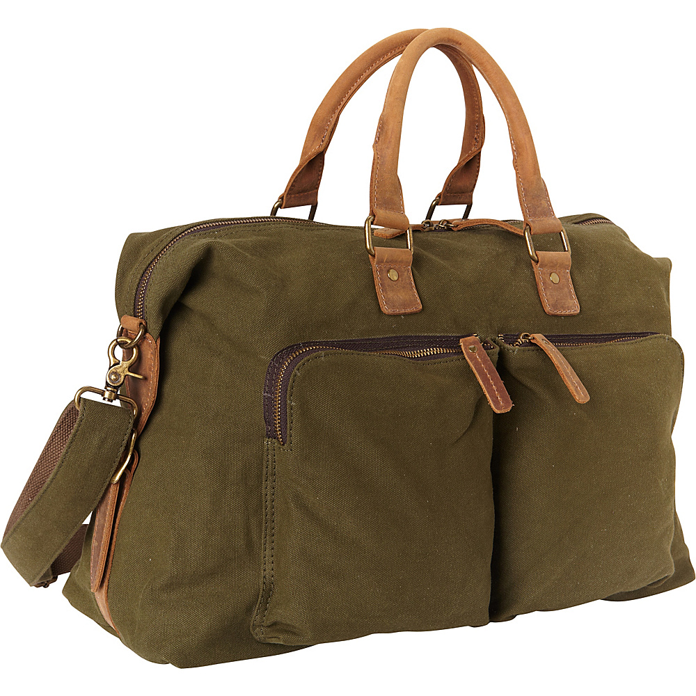 Vagabond Traveler Classic Canvas Over Night Travel Bag Green - Vagabond Traveler Rolling Duffels - Luggage, Rolling Duffels