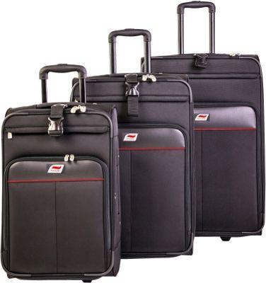 Andare Monterrey 2 Wheel Upright 3 Piece Set Black - Andare Luggage Sets