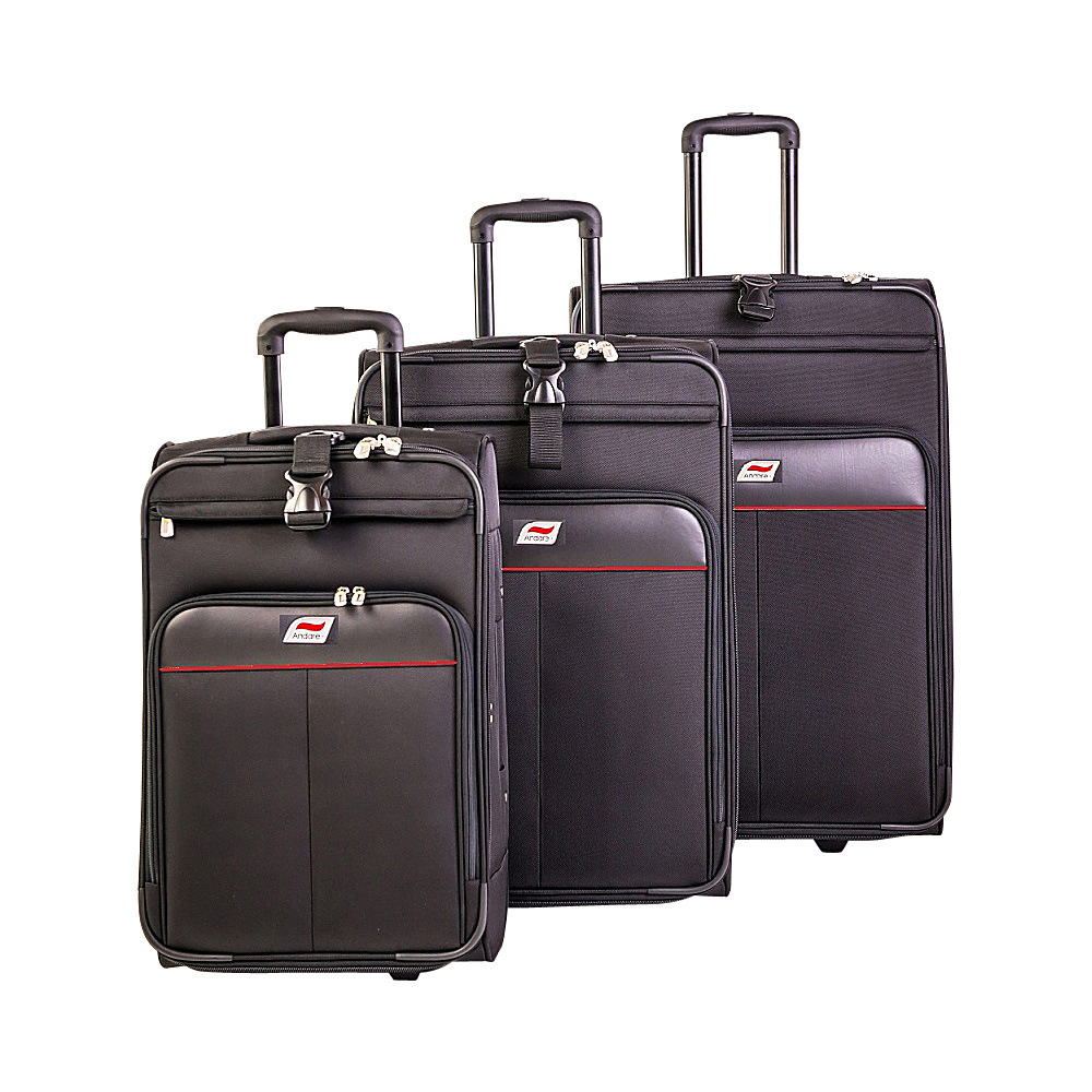 Andare Monterrey 2 Wheel Upright 3 Piece Set Black Andare Luggage Sets