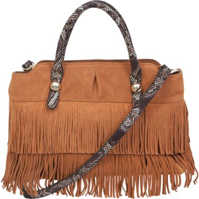 BUCO Suede Fringe Tote Camel - BUCO Leather Handbags