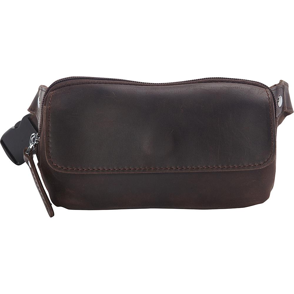 Vagabond Traveler Cowhide Leather Slim Waist Pack Phone Holder Dark Brown - Vagabond Traveler Electronic Cases - Technology, Electronic Cases