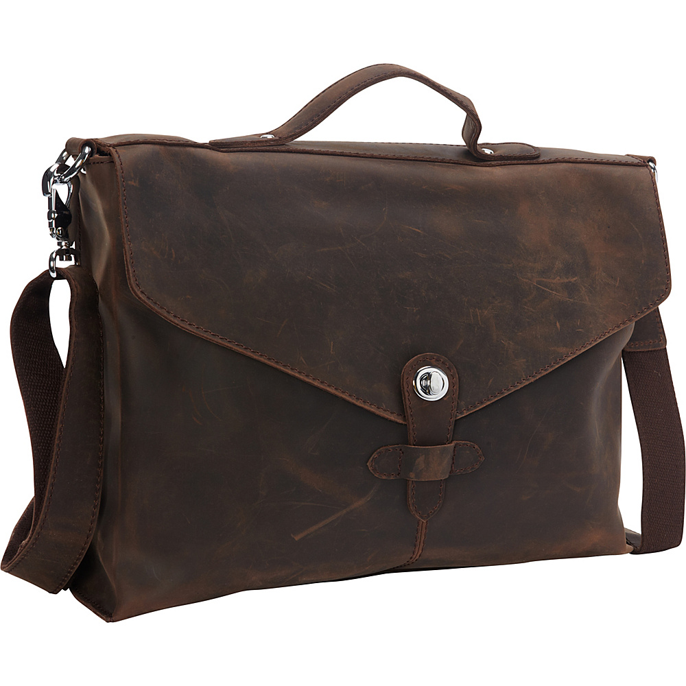 Vagabond Traveler Cowhide Leather Slim Messenger Bag Distress - Vagabond Traveler Messenger Bags - Work Bags & Briefcases, Messenger Bags