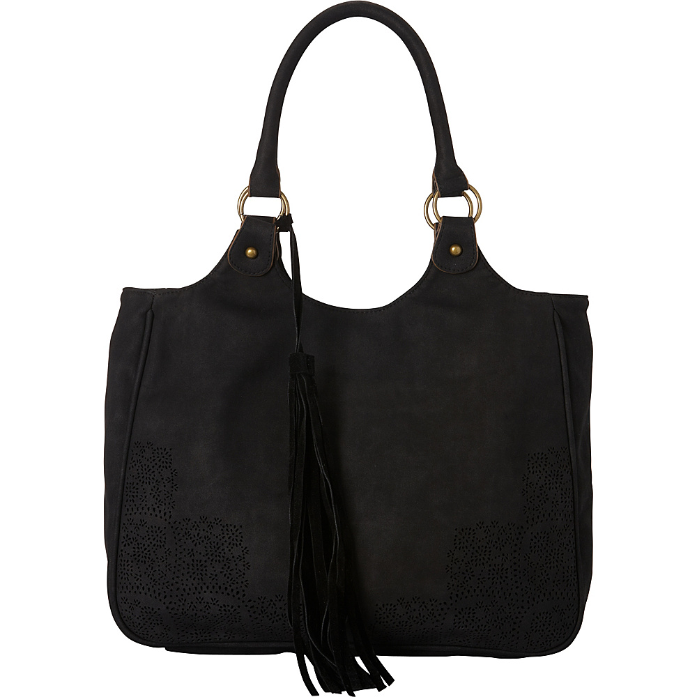 T shirt Jeans Perforated Tote with Tassel Black T shirt Jeans Manmade Handbags