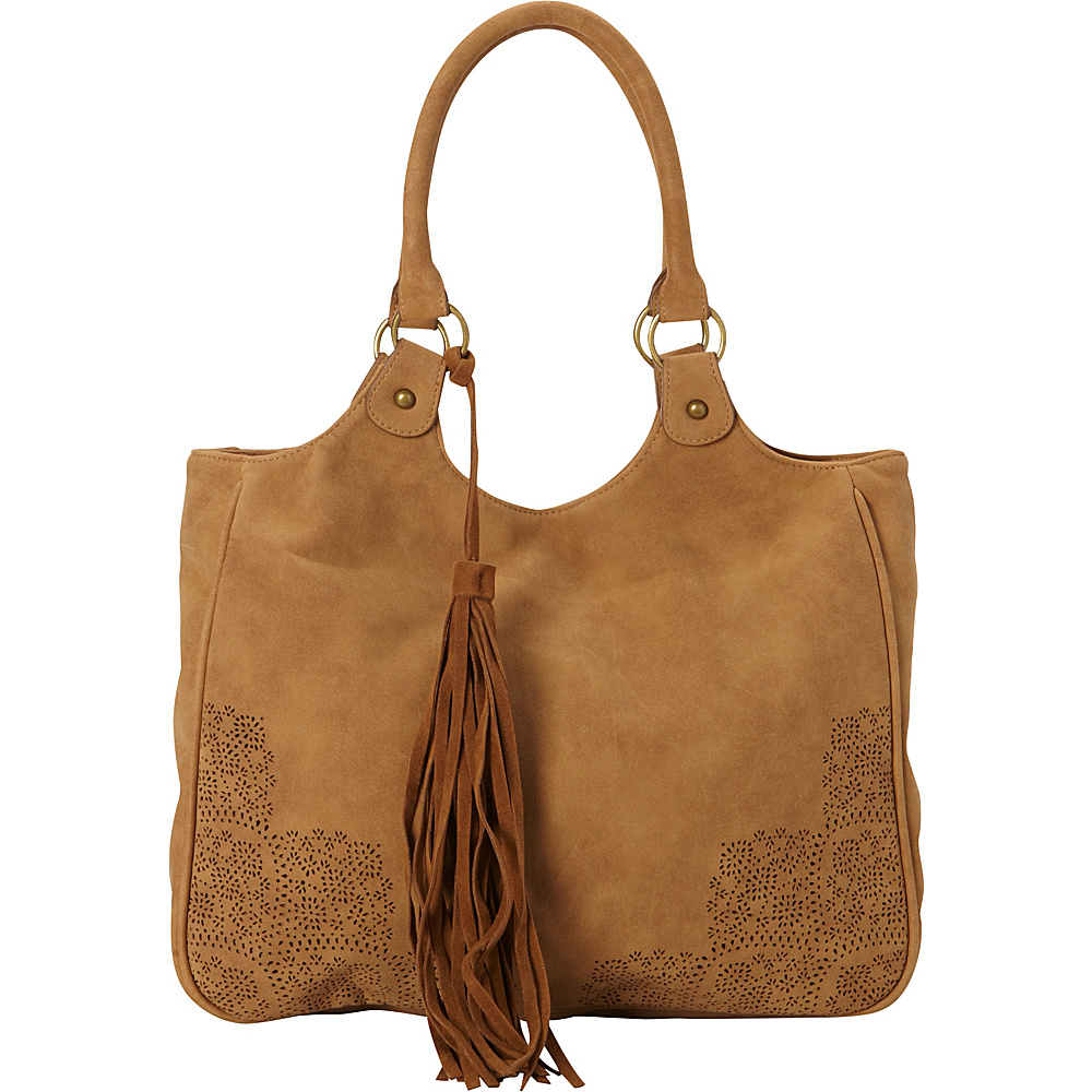 T shirt Jeans Perforated Tote with Tassel Tan T shirt Jeans Manmade Handbags
