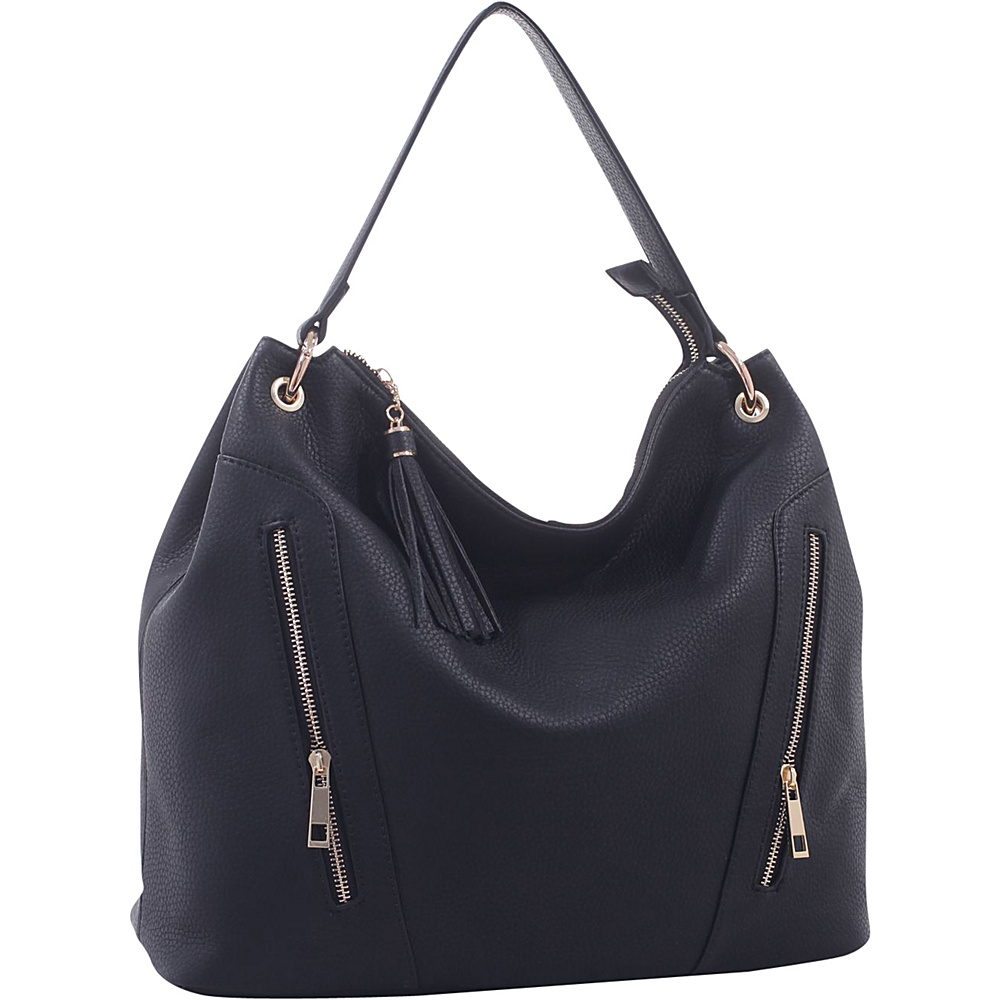 MKF Collection Corinne Tasseled Hobo Bag Black - MKF Collection Manmade Handbags - Handbags, Manmade Handbags