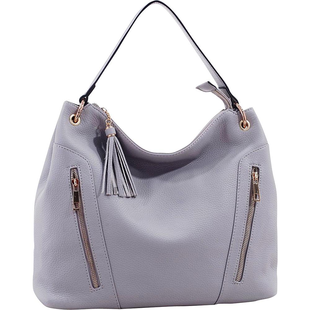 MKF Collection Corinne Tasseled Hobo Bag Light Grey - MKF Collection Manmade Handbags - Handbags, Manmade Handbags