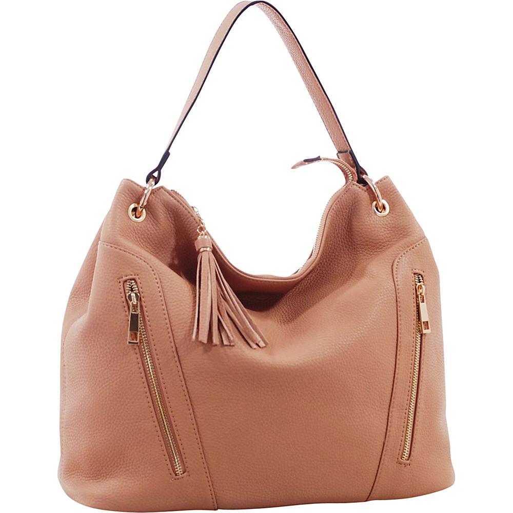 MKF Collection Corinne Tasseled Hobo Bag Light Tan - MKF Collection Manmade Handbags - Handbags, Manmade Handbags