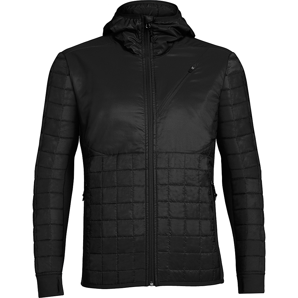Icebreaker Mens Helix Long Sleeve Zip Hooded Jacket S - Black - Icebreaker Mens Apparel - Apparel & Footwear, Men's Apparel