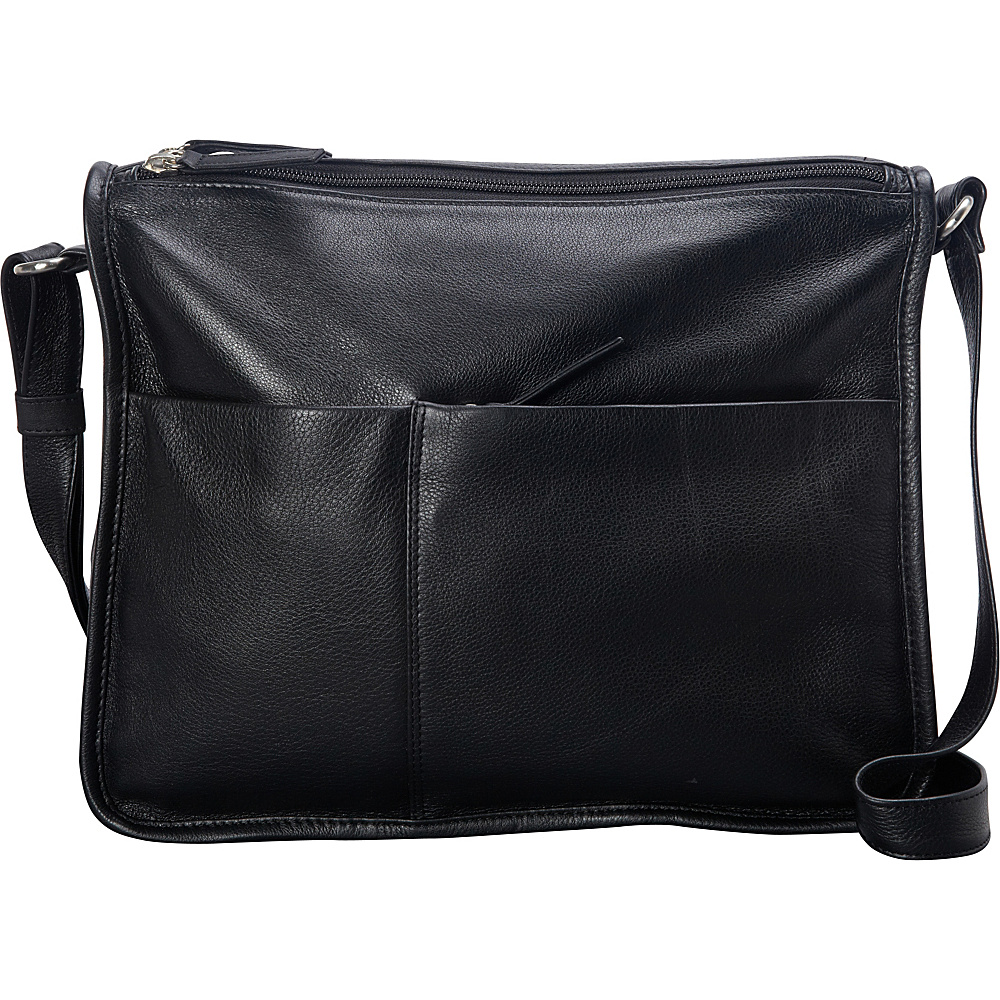 Derek Alexander Twin Top Zip Crossbody Black - Derek Alexander Leather Handbags - Handbags, Leather Handbags