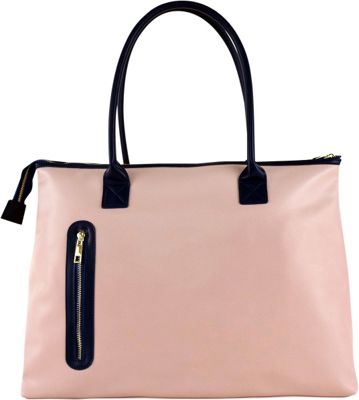 Tara's Travelers Soft Rose Travel Tote Soft Rose/Subtle Navy Notes - Tara's Travelers Manmade Handbags