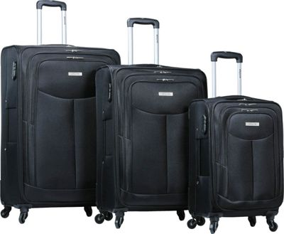 Dejuno The Legacy 3-Piece Softside Lightweight Spinner Upright Luggage Set Black - Dejuno Luggage Sets