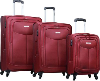 Dejuno Dejuno The Legacy 3-Piece Softside Lightweight Spinner Upright Luggage Set Burgundy - Dejuno Luggage Sets