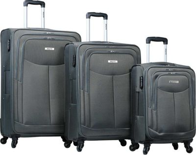 Dejuno The Legacy 3-Piece Softside Lightweight Spinner Upright Luggage Set Grey - Dejuno Luggage Sets