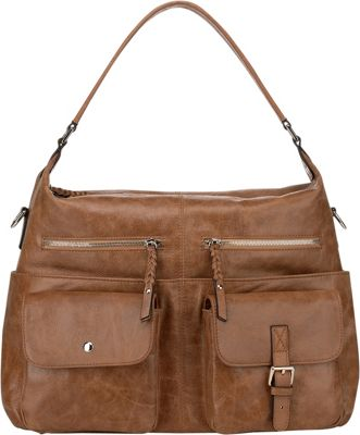 Vicenzo Leather Carlotta Distressed Leather Shoulder Bag Brown - Vicenzo Leather Leather Handbags