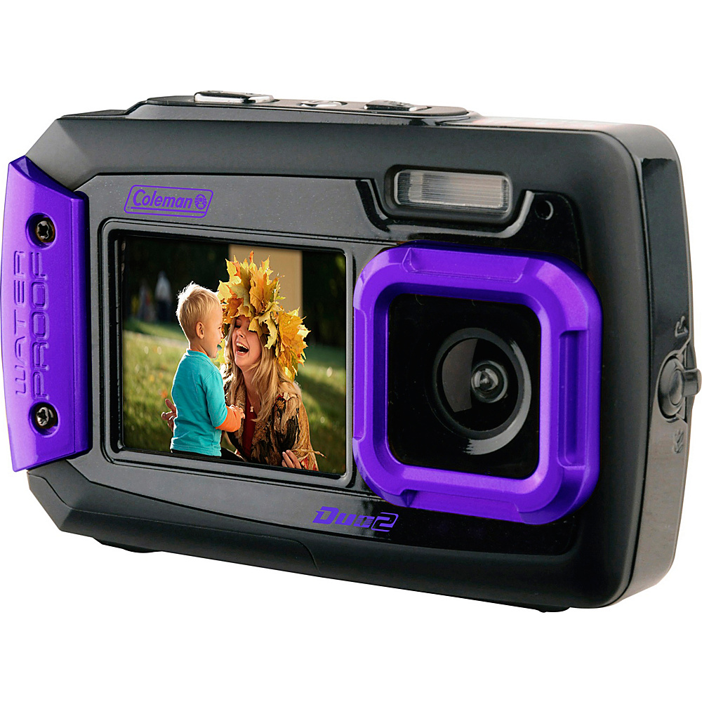 Coleman Duo2 20.0 MP Underwater Digital Video Camera Waterproof to 10 ft with Dual LCD Screens Purple Coleman Cameras