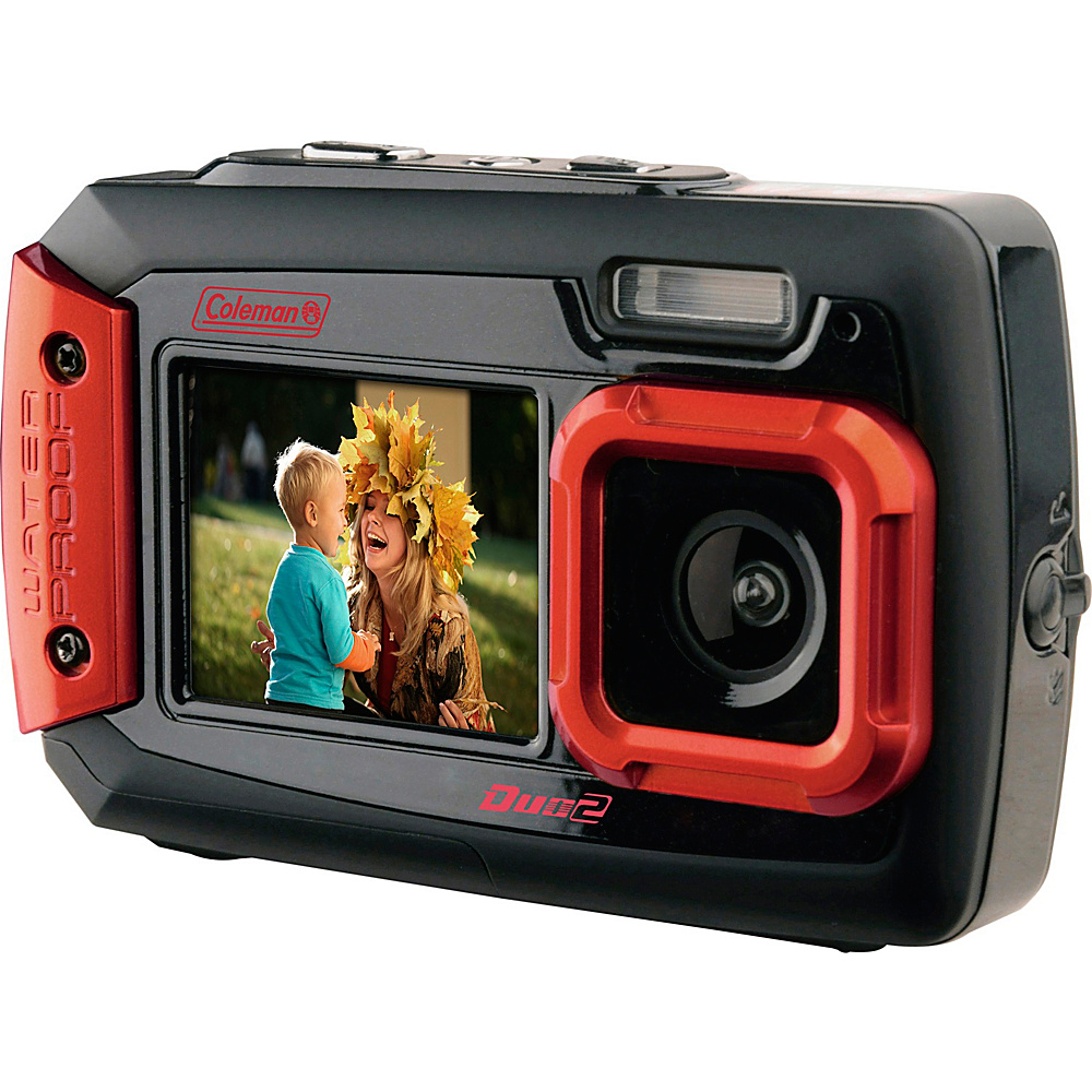 Coleman Duo2 20.0 MP Underwater Digital Video Camera Waterproof to 10 ft with Dual LCD Screens Red Coleman Cameras