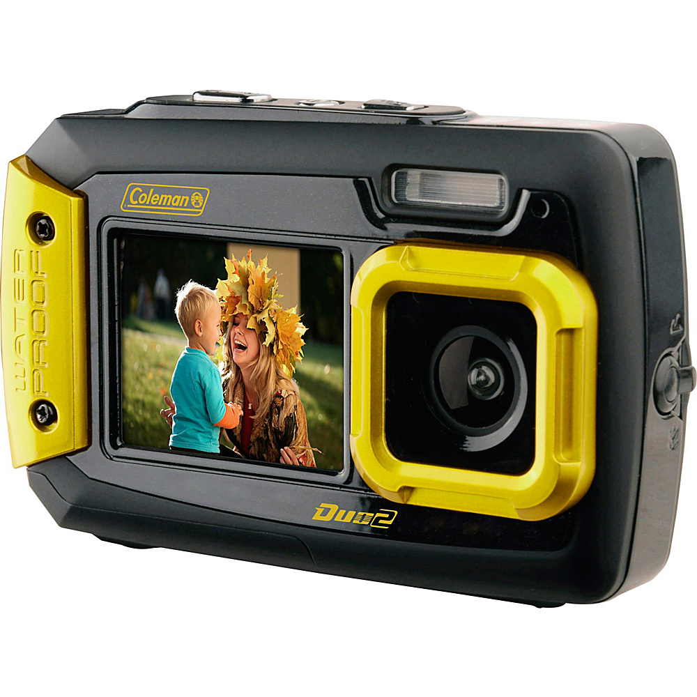 Coleman Duo2 20.0 MP Underwater Digital Video Camera Waterproof to 10 ft with Dual LCD Screens Yellow Coleman Cameras