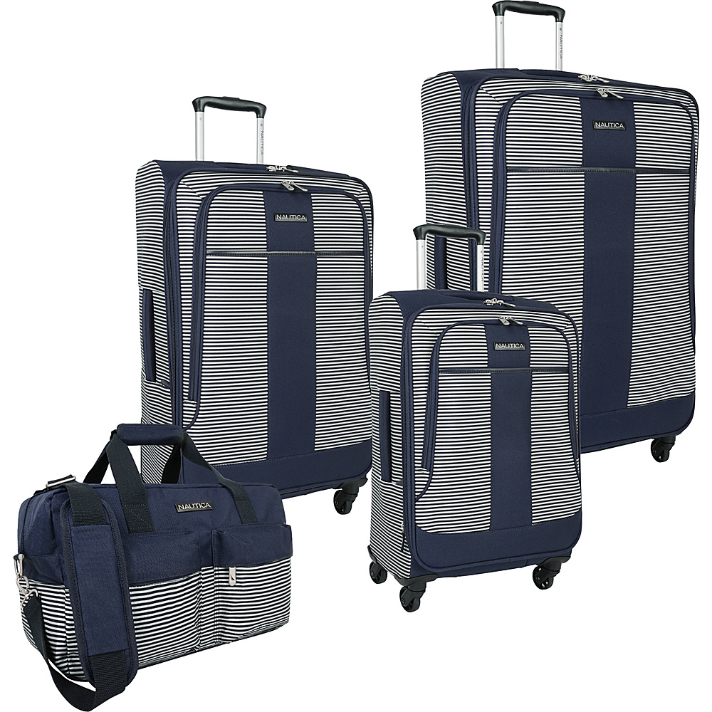 Nautica Beach 4 Piece Set Navy white Nautica Luggage Sets