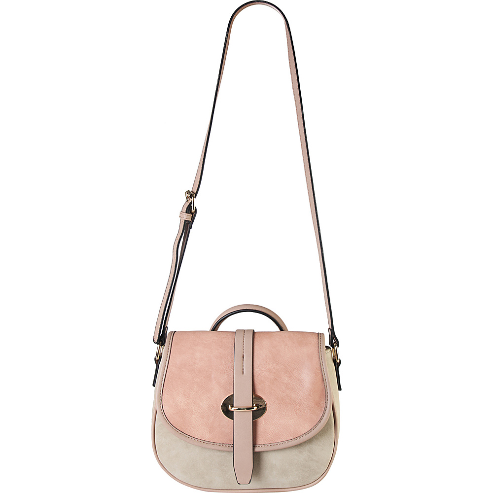 Diophy Three Tone Saddle Crossbody Handbag Beige Diophy Manmade Handbags